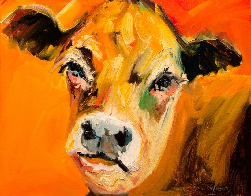 """ARTOUTWEST COW TAILS ANIMAL ART FARM BY Diane Whitehead"" original fine art by Diane Whitehead"