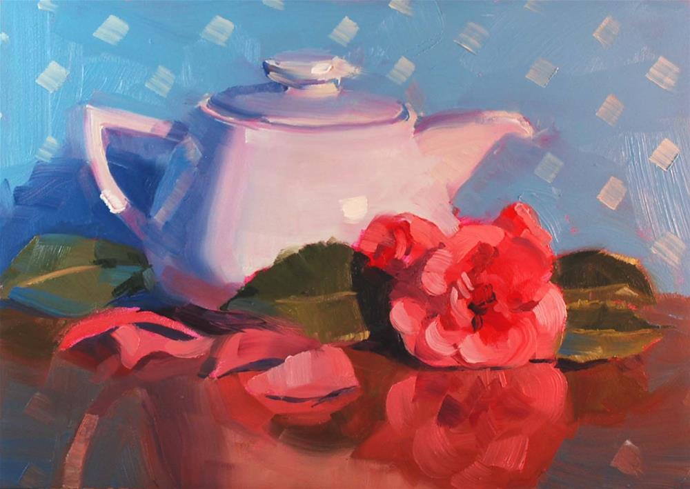 """Teapot and Camellias"" original fine art by Susan McManamen"