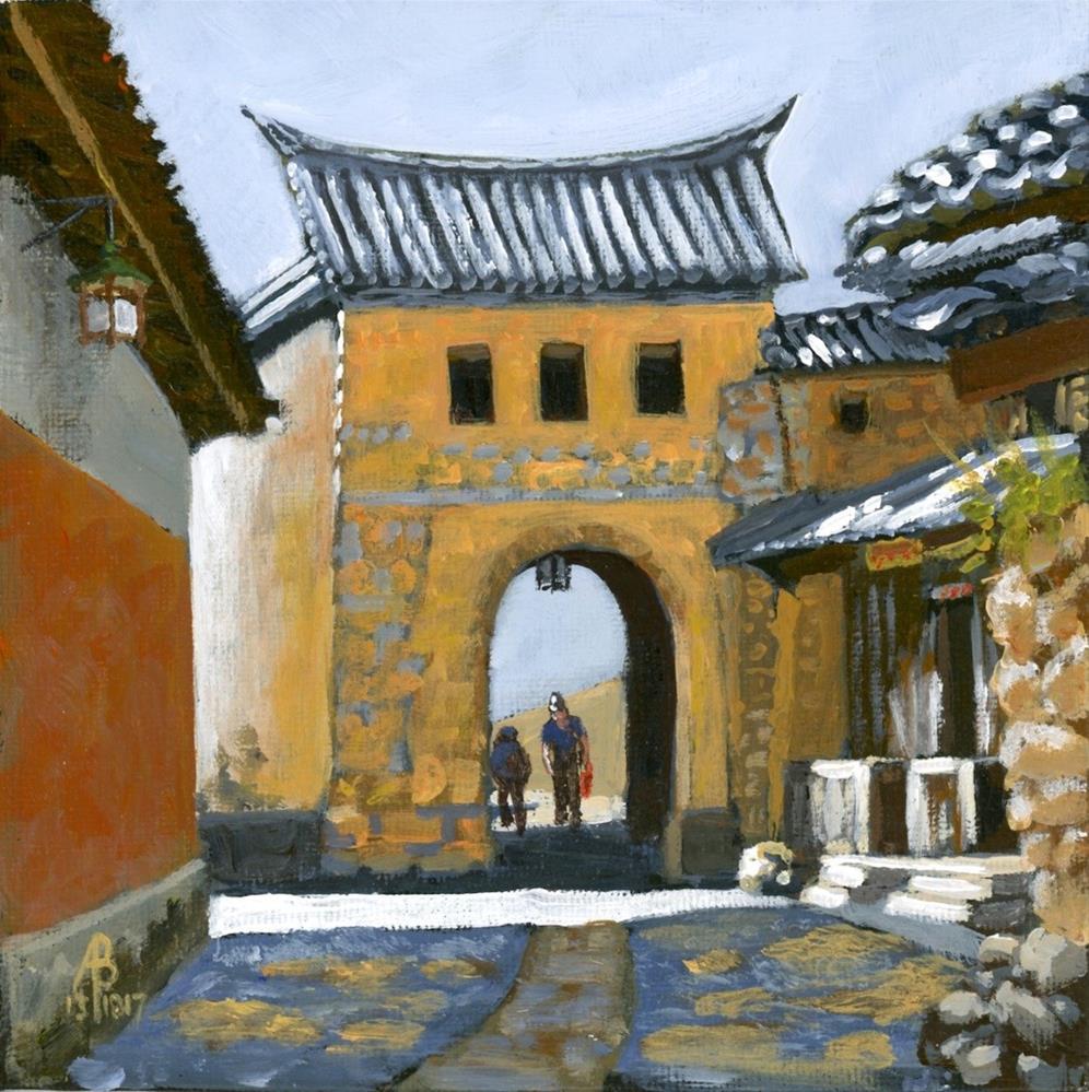 """Village gate near Dali, Yunnan province, China"" original fine art by Alix Baker PCAFAS AUA"