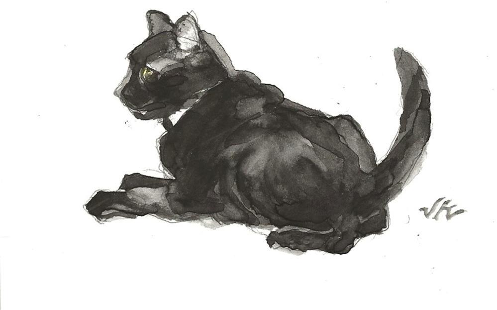 """Daily Cat 135"" original fine art by Jean Krueger"