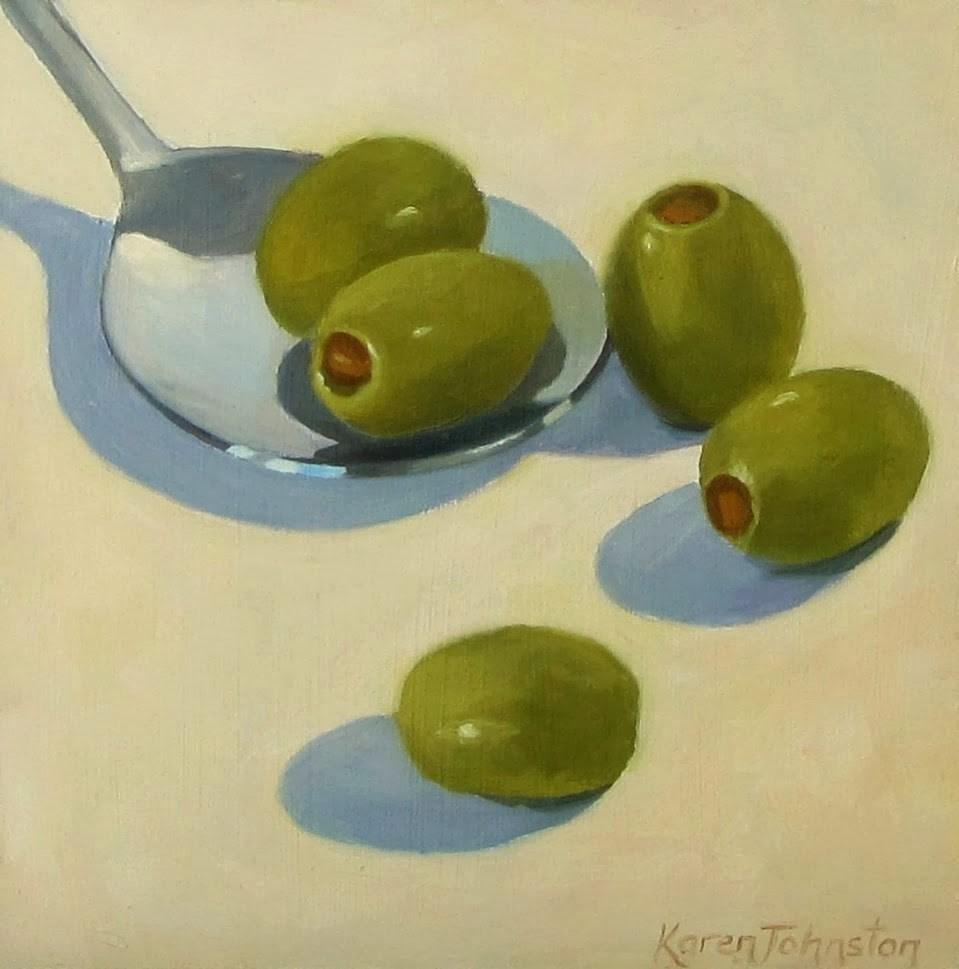 """""""Olive Party"""" original fine art by Karen Johnston"""