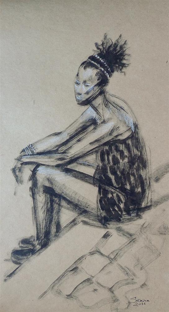 """Woman sitting"" original fine art by Elena Senina"