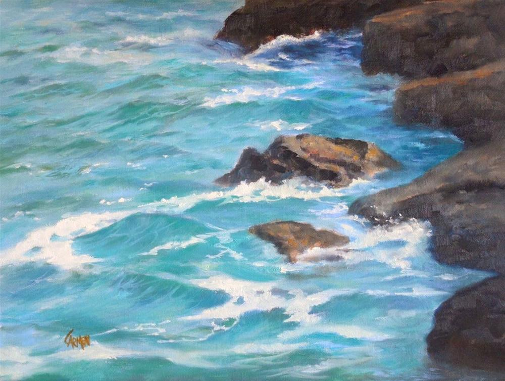 """""""By the Jetty, 8x10 Oil Painting Seascape on Canvas Panel"""" original fine art by Carmen Beecher"""
