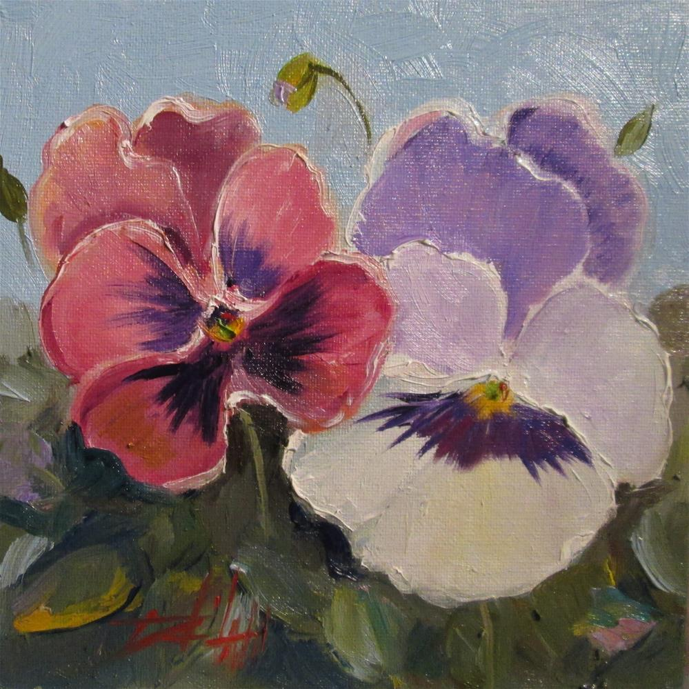 """""""Dreaming Pansies"""" original fine art by Delilah Smith"""
