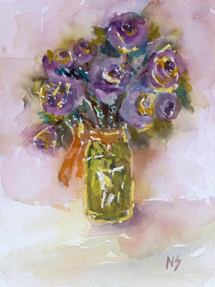 """Purple Roses 14042"" original fine art by Nancy Standlee"