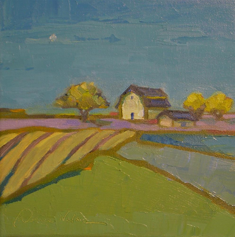 """Moonlit Farm"" original fine art by Donna Walker"