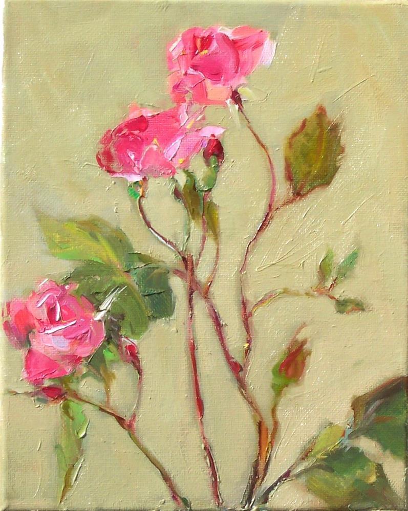 """New Roses,still life,oil on canvas,10x8,price$350"" original fine art by Joy Olney"