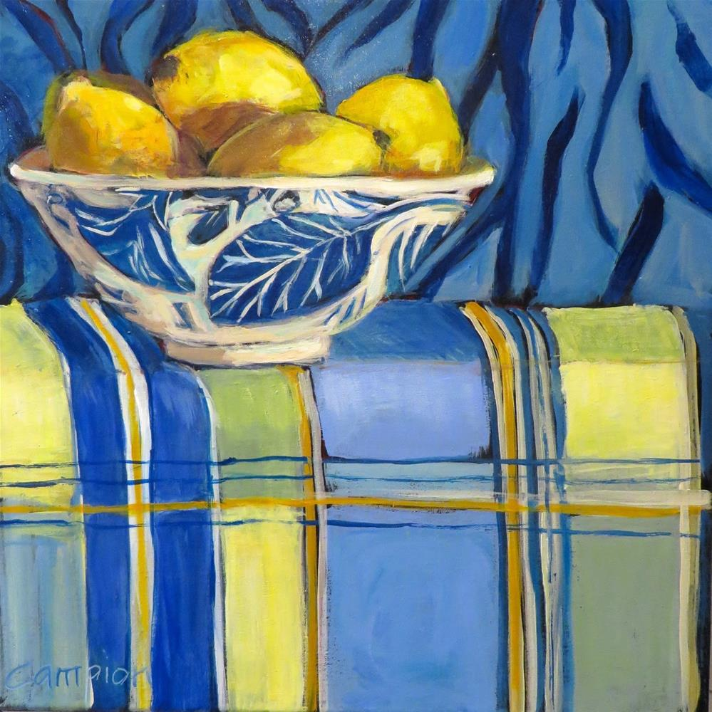 """891 Lemons in a Blue and White Bowl"" original fine art by Diane Campion"
