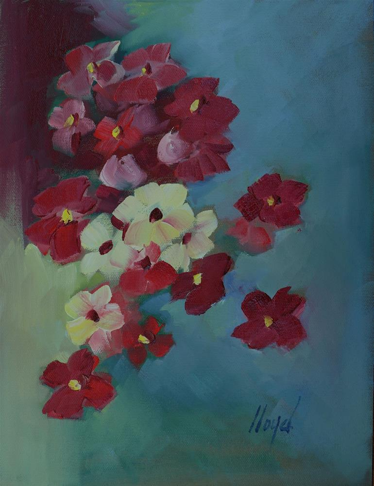 """Flowers on Blue"" original fine art by Diane Lloyd"