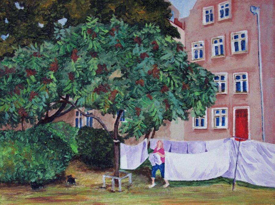 """Hanging the Laundry"" original fine art by Nan Johnson"