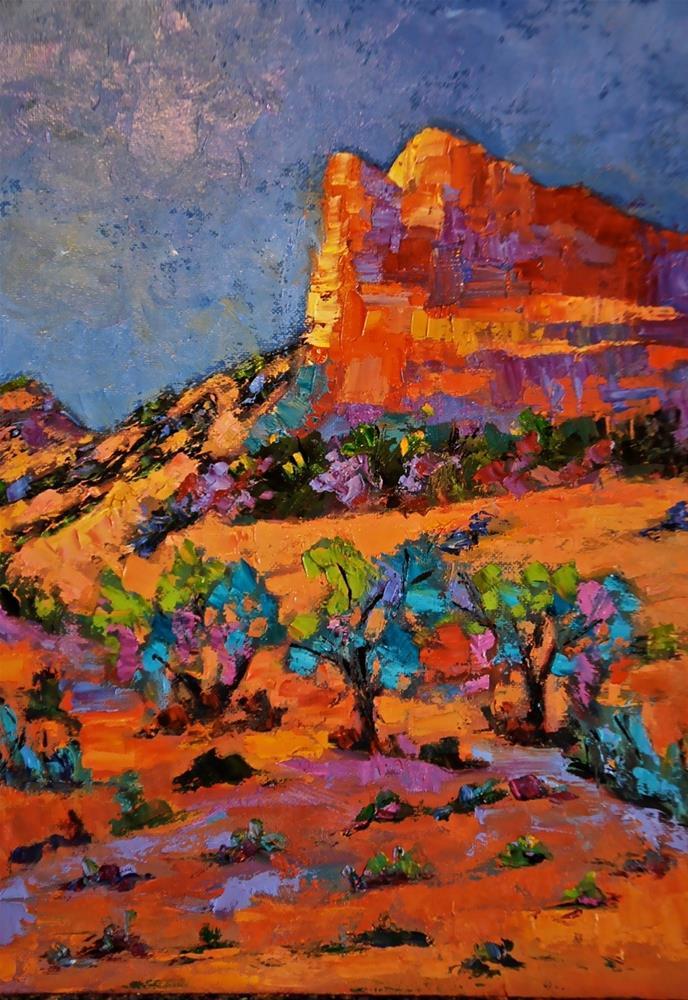 """""""Lone Desert Cliffs"""" original fine art by Liz Zornes"""