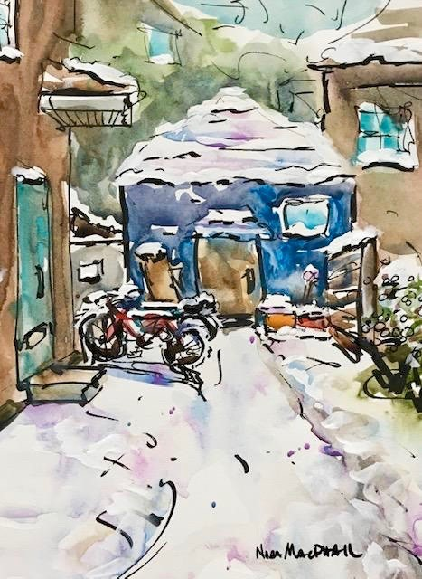 """snowy alley"" original fine art by Nora MacPhail"