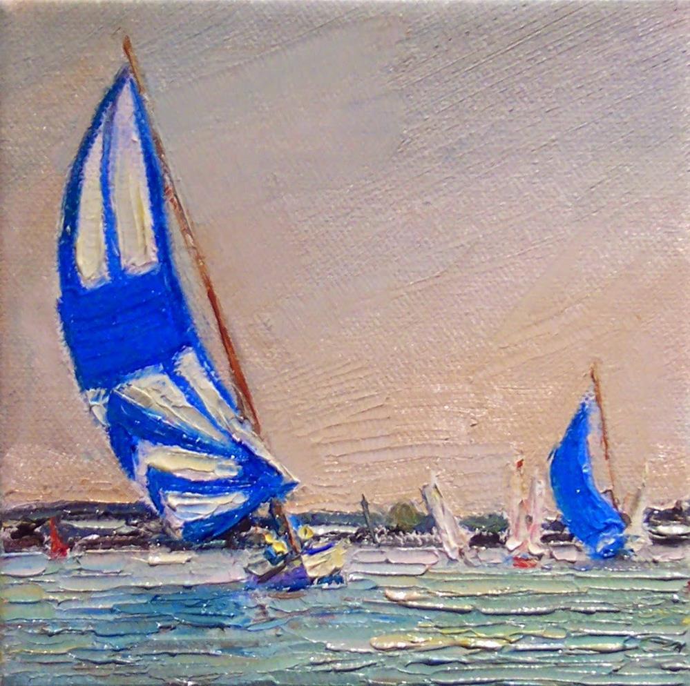 """Blue Spinnakers,seascape,oil on canvas,6x6,price$300"" original fine art by Joy Olney"