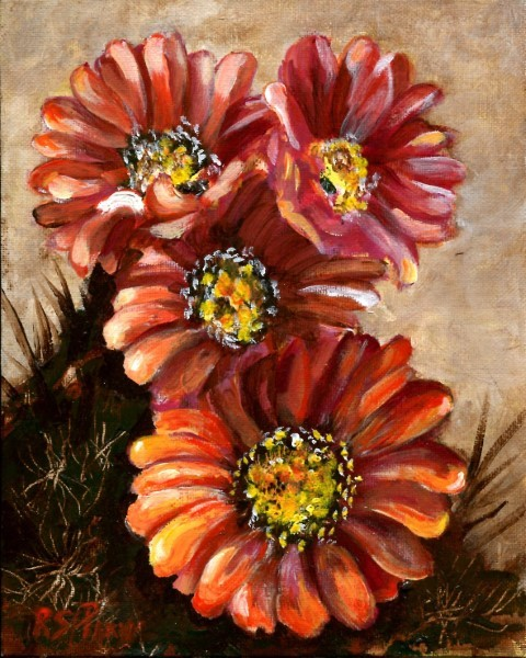 """Cactus Flowers, unframed."" original fine art by R. S. Perry"