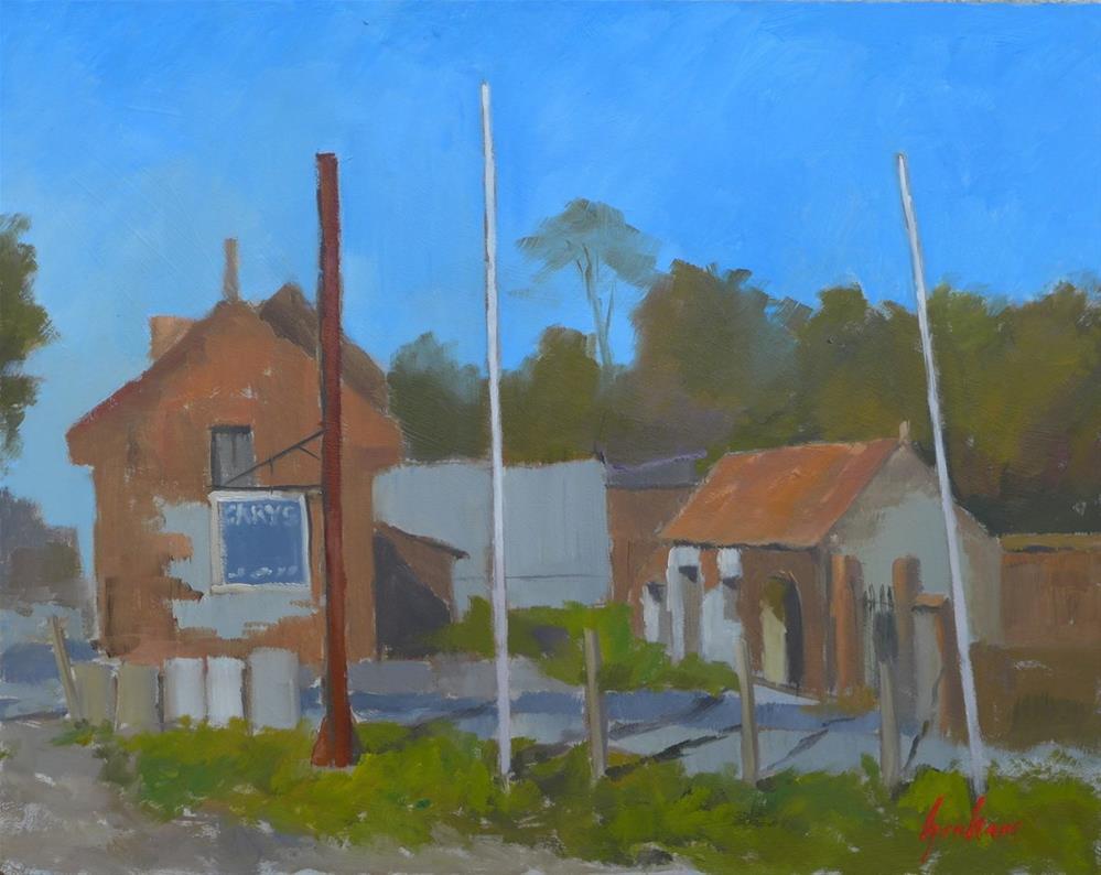 """""""Gary's garage"""" original fine art by Graham Townsend"""