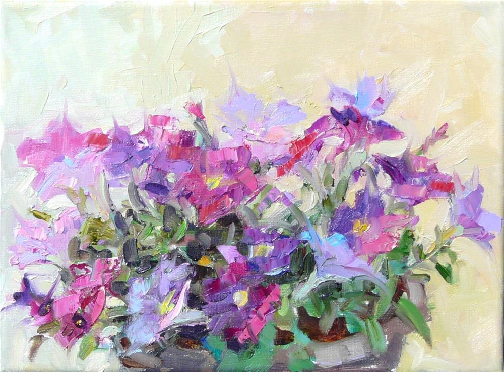 """Pot of Petunias,still life,oil on canvas,9x12,price$200"" original fine art by Joy Olney"