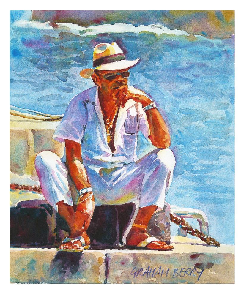 """Man in white"" original fine art by Graham Berry"