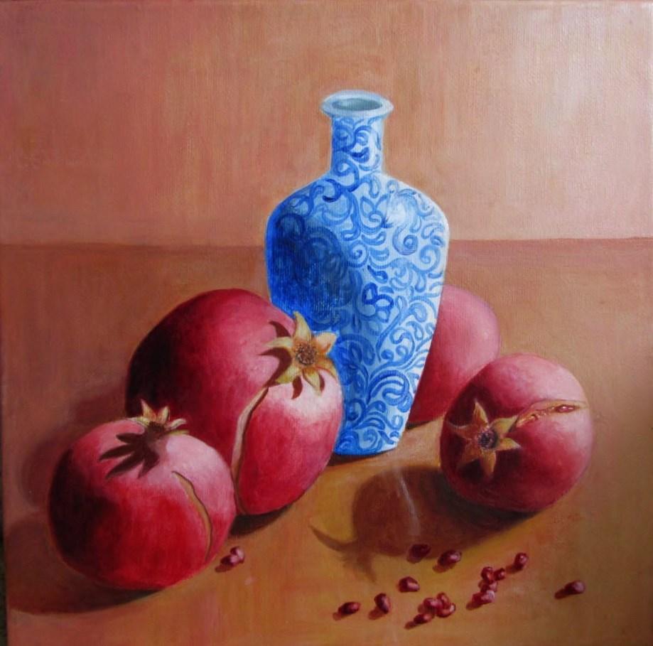 """Pomegranates with blue vase"" original fine art by Pratima Patel"
