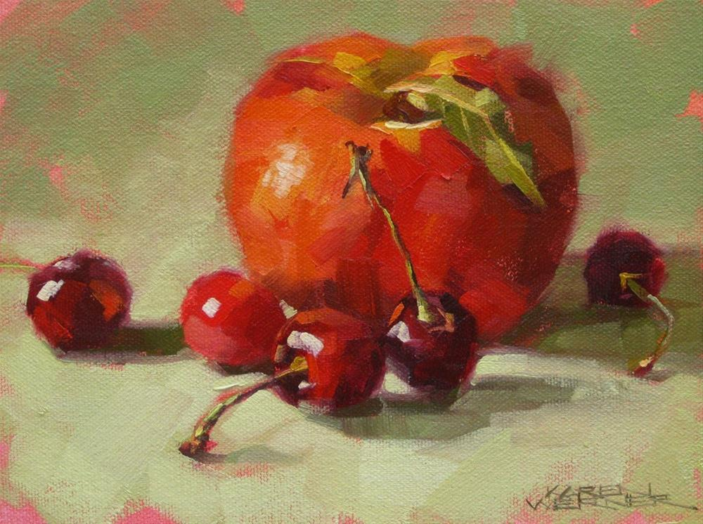 """Cherries Meet The Giant Peach"" original fine art by Karen Werner"