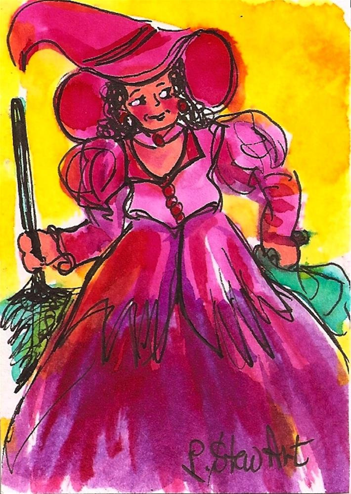 """""""ACEO:  Halloween Pink Witch Costume watercolor & pen Original Illustration"""" original fine art by Penny Lee StewArt"""
