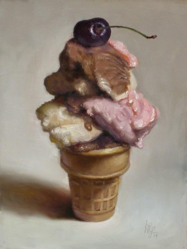 """Neapolitan with Cherry"" original fine art by Debra Becks Cooper"