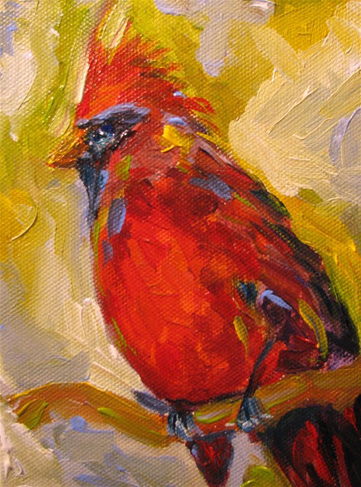 """Tropical Cardinal"" original fine art by Susan Elizabeth Jones"
