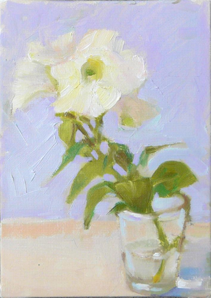 """White Petunia,still life,oil on canvas,7x5,price$100"" original fine art by Joy Olney"