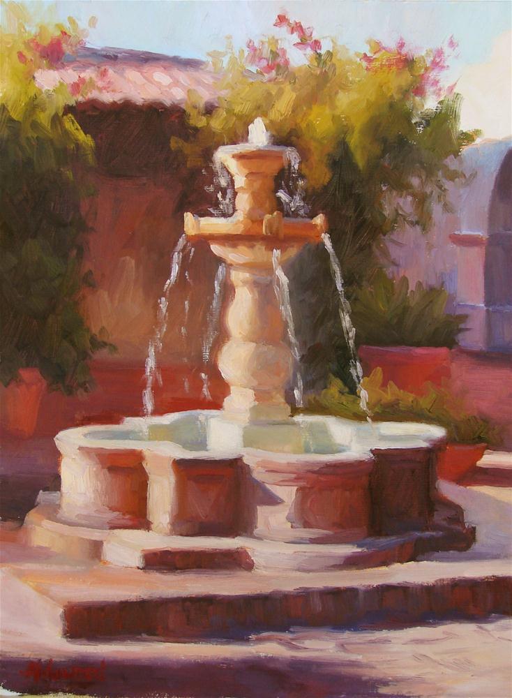 """Fountain in Afternoon Light"" original fine art by Sherri Aldawood"