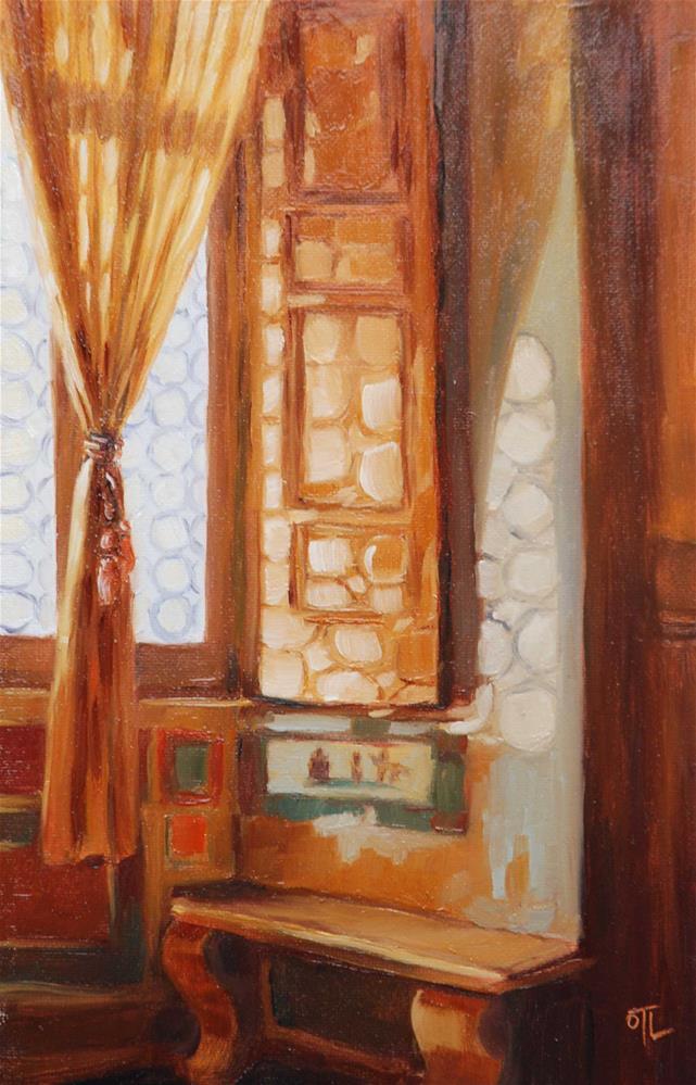 """Daily Color Scales #5 from Roman vacation - Renaissance window"" original fine art by Olga Touboltseva-Lefort"