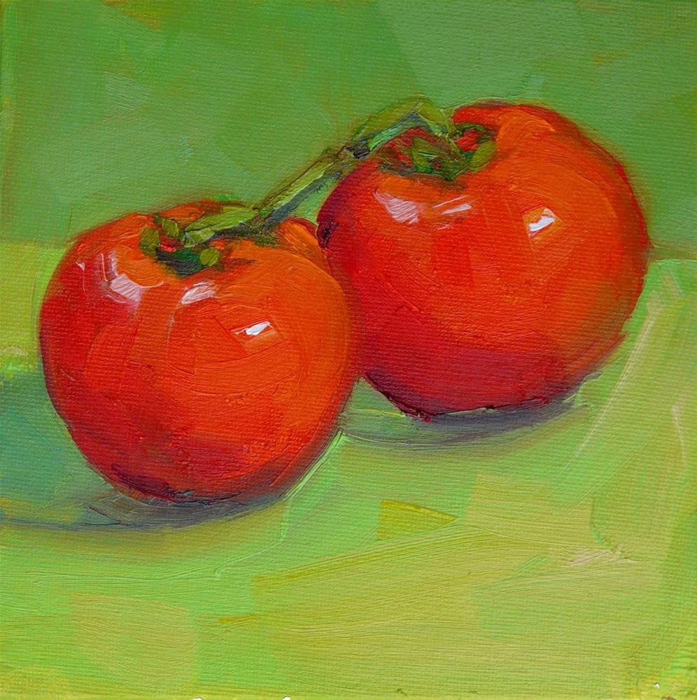 """Vine Tomatoes,still life,oil on canvas,6x6,price$200"" original fine art by Joy Olney"
