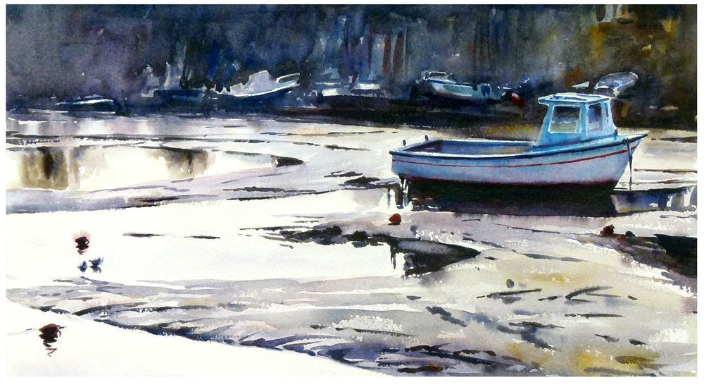 """Blue boat."" original fine art by Graham Berry"