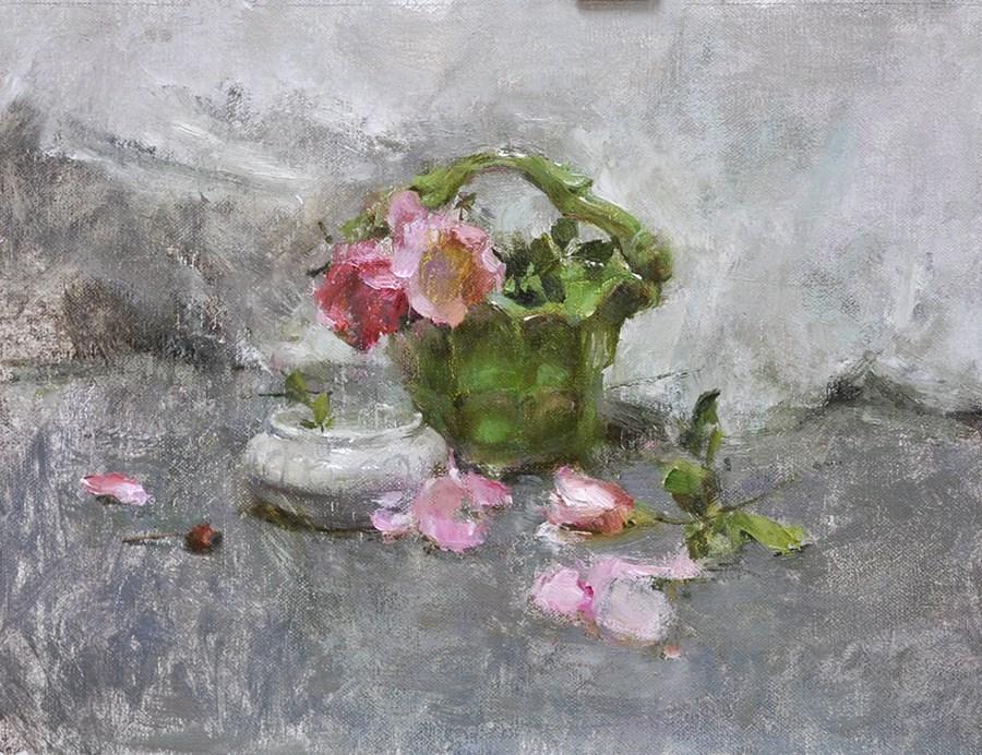 """green vase"" original fine art by Taisia Kuklina"