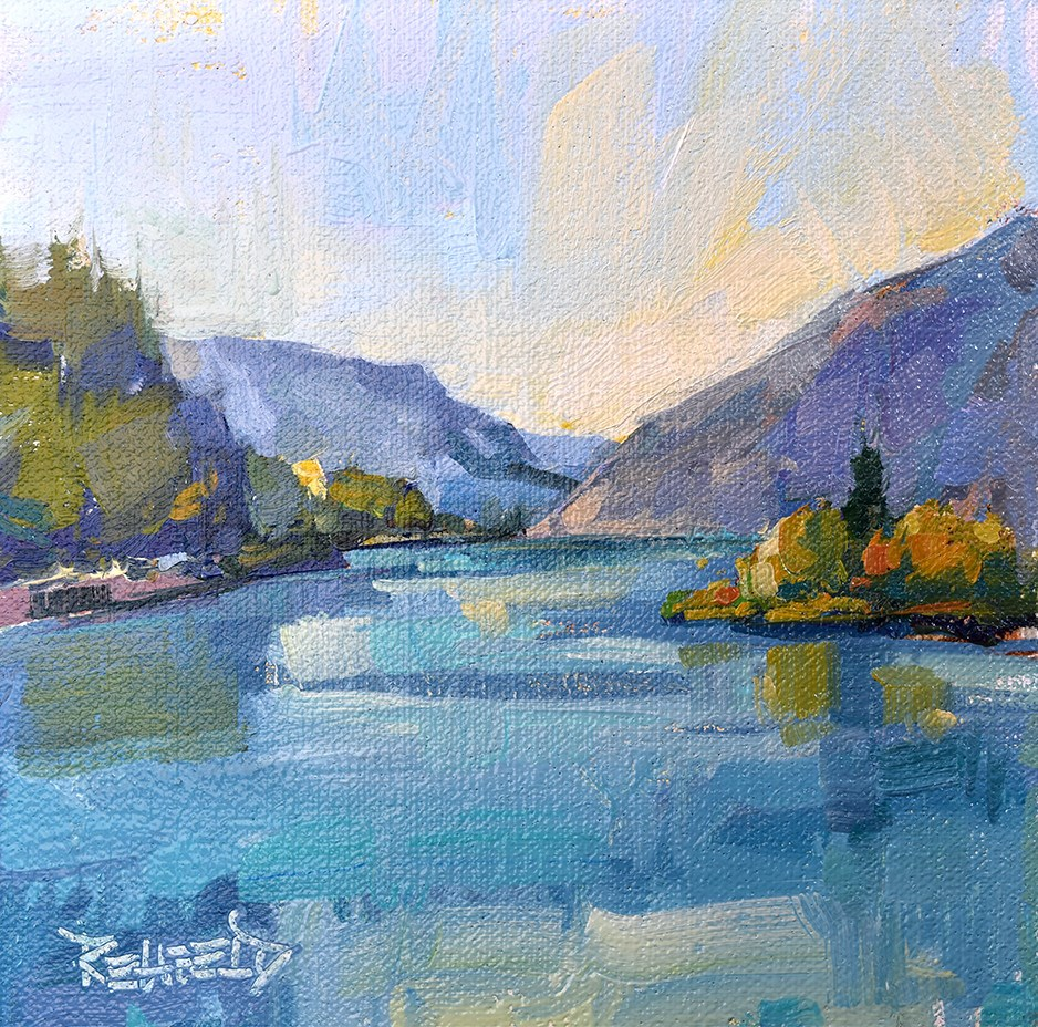 """""""Calm Day in The Gorge"""" original fine art by Cathleen Rehfeld"""