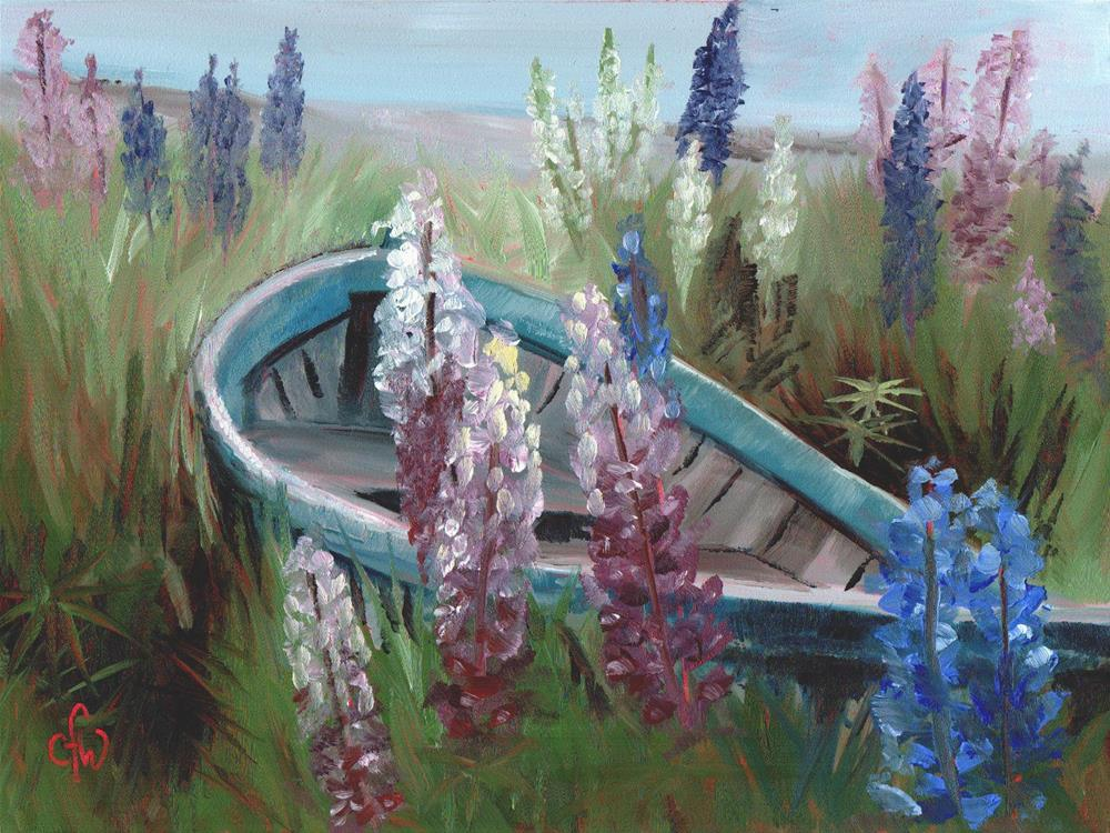 """Lupins and Boat"" original fine art by Gary Westlake"