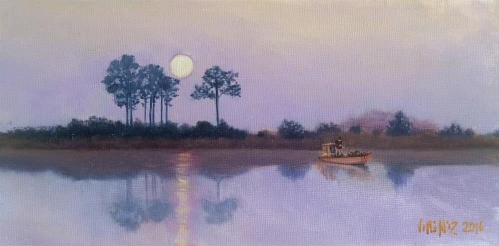 """""""Moonlight fishing 4 X 8 oil on panel"""" original fine art by Paulo Jimenez"""