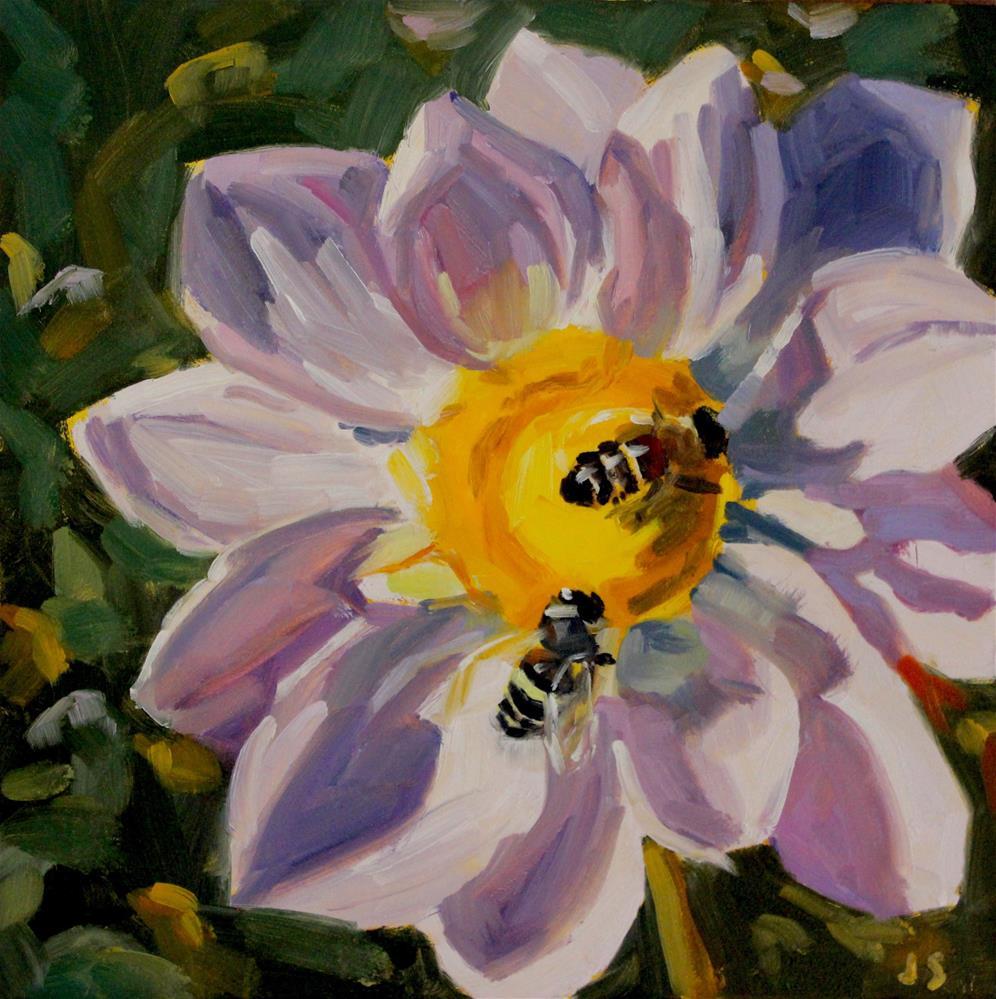 """Dahlia Bees"" original fine art by Jamie Stevens"
