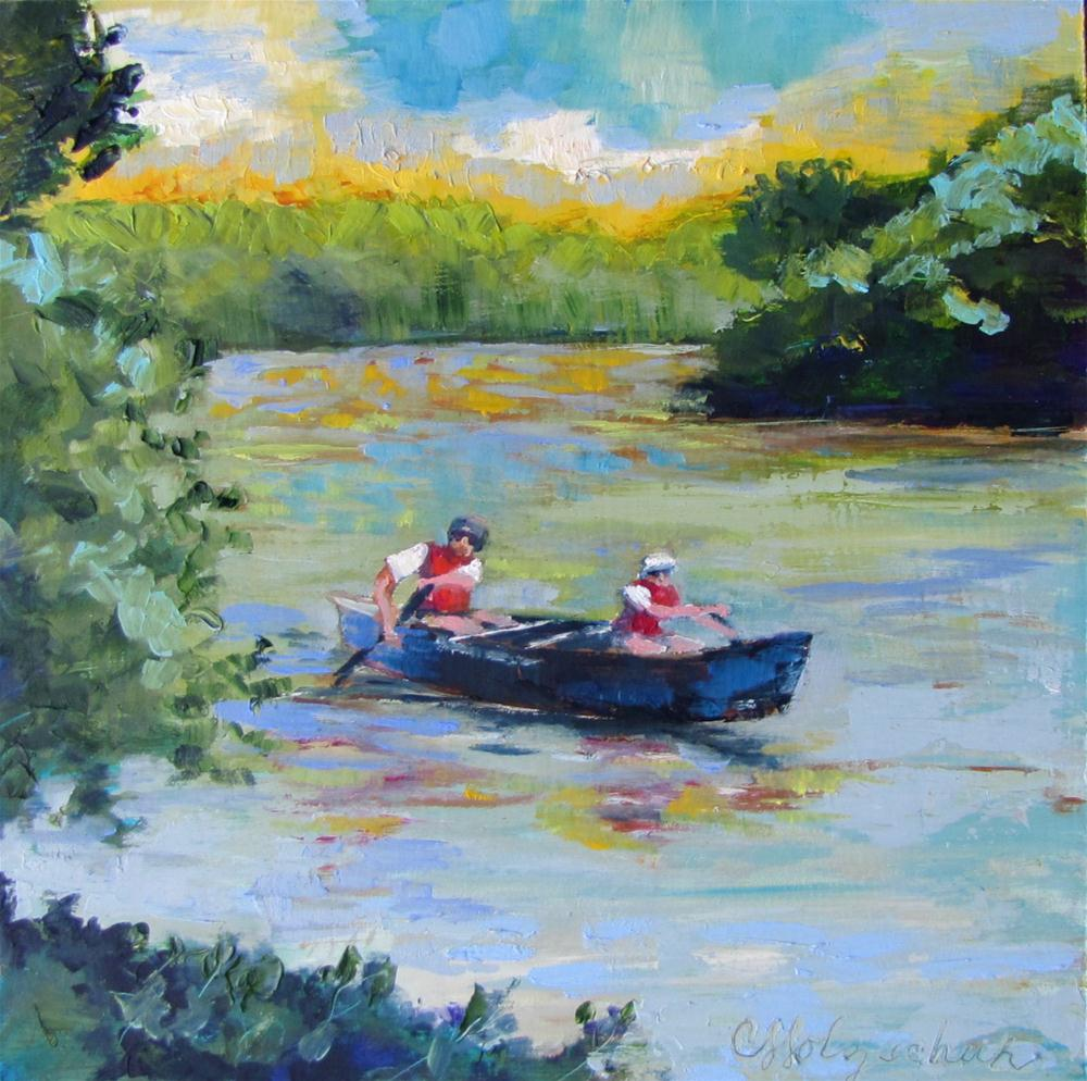 """Round the Bend  8x8  oil $150"" original fine art by Christine Holzschuh"