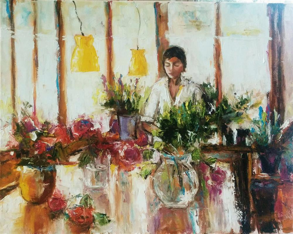 """Shop for Flowers"" original fine art by pepa sand"