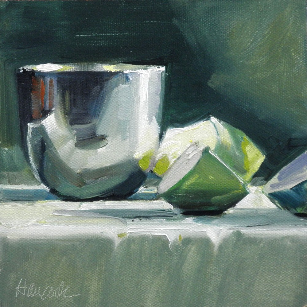 """""""Black and Green, Apple Slices and Pewter"""" original fine art by Gretchen Hancock"""