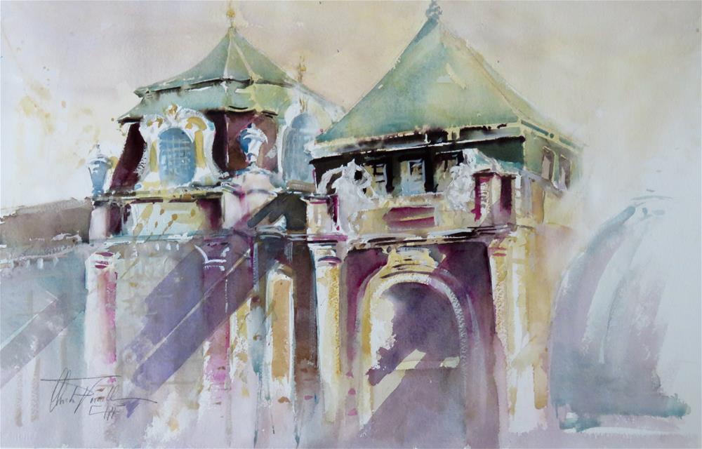 """Some architecture of Vienna"" original fine art by Christa Friedl"