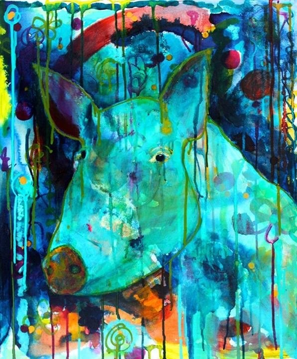"""#109 The First Pig"" original fine art by Silke Powers"