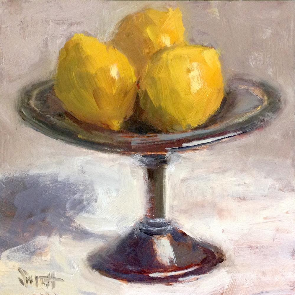 """Antique Silver With Lemons"" original fine art by Barbie Smith"