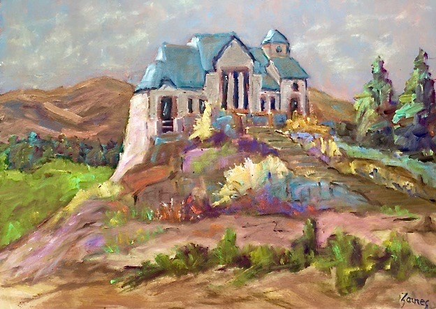 """Rocky Mountain Church, Estes Park"" original fine art by Liz Zornes"
