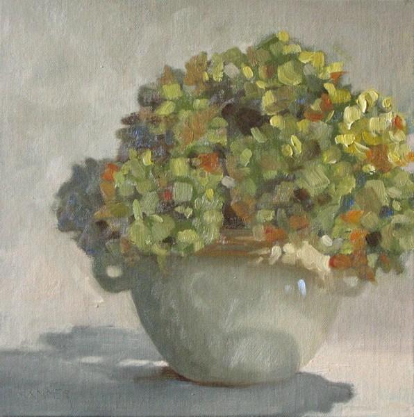 """Green Hydrangea Bouquet 8x8 oil"" original fine art by Claudia Hammer"