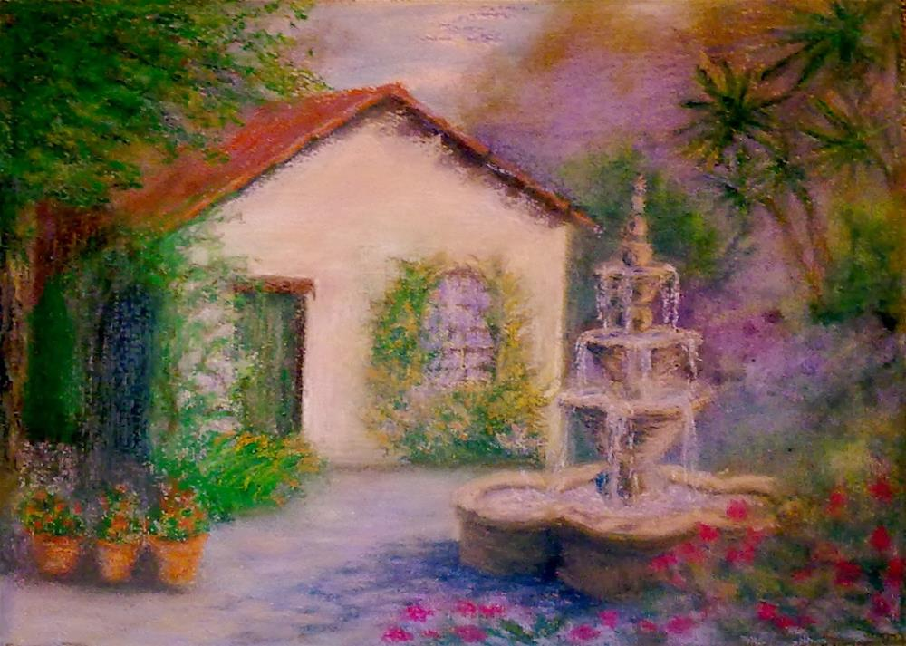 """""""Cottage in Carmel  with Fountain"""" original fine art by Jules Fine Art Gallery"""