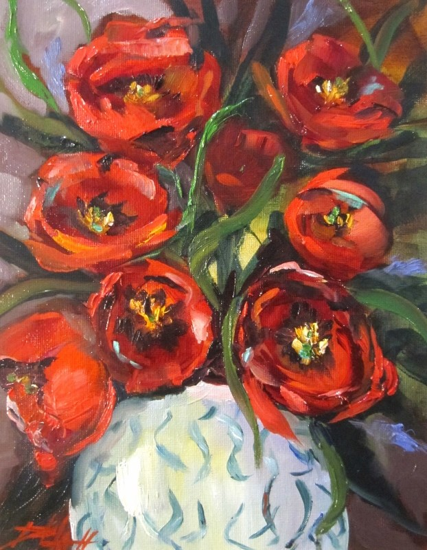 """""""Red Tulips"""" original fine art by Delilah Smith"""