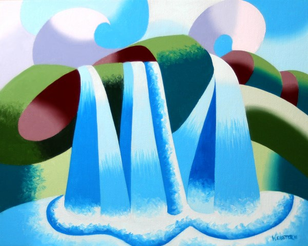 """""""Mark Webster - Abstract Geometric Waterfall Landscape Oil Painting"""" original fine art by Mark Webster"""
