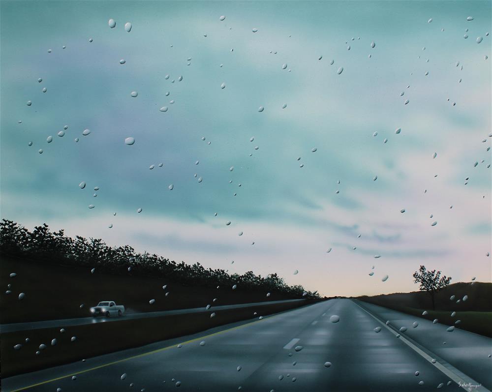 """""""Homeward Bound in the Rain"""" original fine art by Fred Schollmeyer"""