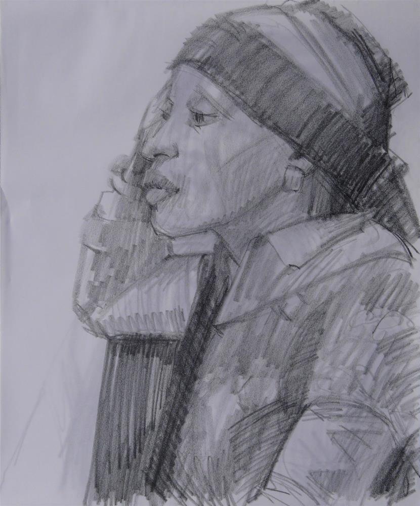 """Thursday's Model,figure,graphit drawing on paper,17x14,price$100"" original fine art by Joy Olney"
