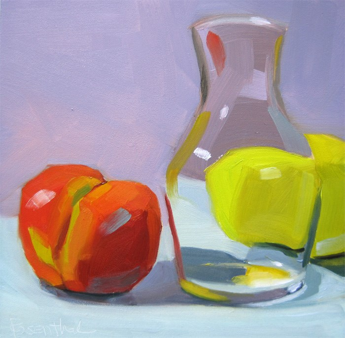 """Clear Glass Vase and Fruit"" original fine art by Robin Rosenthal"